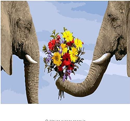 LIWeißY Elefant  em e Durch Zahlen Leinwand DIY  em e Dekoration Für Wohnzimmer Wohnkultur - Mit Rahmen - 50x6cm