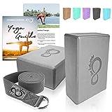 Premium Yoga Blocks & Metal D Ring Strap Yogi Set (3PC) 2 High Density EVA Foam Blocks to Support & Deepen Poses, Improve Strength & Flexibility- Lightweight, Odor & Moisture Resistant (Dark Grey)
