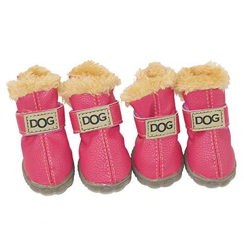 ZEKOO Dog Shoes Australia Boots Pet Antiskid Winter Warm Skidproof Grains Wear-Resisting Sneakers Paw Protectors (1, Pink)