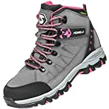 Foxelli Women's Hiking Boots – Waterproof Suede Leather Hiking Shoes for Women, Breathable, Comfortable & Lightweight Hiking Boot Grey