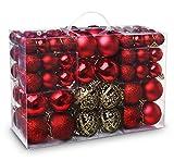 ABSOFINE Boules de Noël 100pcs Pointe de Sapin avec Différentes Crochets Métalliques Pendentif en Forme-Ø3cm,Ø4cm,Ø6cm Parfait pour Décoration de Noël Traditionnelle