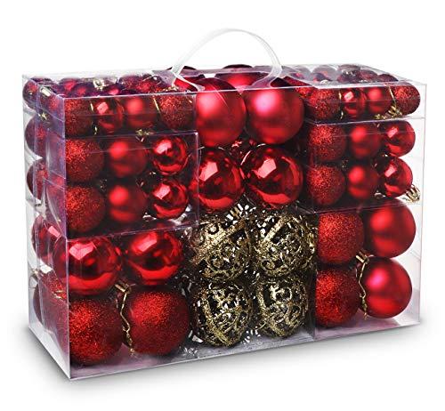 ilauke 100 Weihnachtskugeln Christbaumkugeln Set changierend glänzend glitzernd matt Christbaumschmuck bis Ø 6 cm -Baumschmuck Weihnachten Deko Anhänger