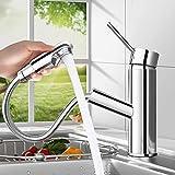 bedee Chrom Wasserhahn Küche Armatur Spültischarmatur mit Herausziehbarer Schlauchbrause, Wasserfall Einhebelmischer Kaltes und Heißes Wasser Vorhanden für Badezimmer/Küchenhahn Waschtischarmatur