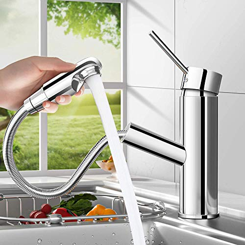 Basin Mixer Tap for Kitchen Sink, Kitchen Sink Tap, Single Handle, Spout 304 Stainless Steel Pull Down Sprayer, Hot and Cold Water Sink Taps for Kitchen Bathroom Cloakroom Balcony Laundry