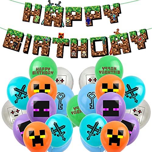 Accesorio de vídeo para videojuegos, decoración de miner gamer con Happy Birthday...