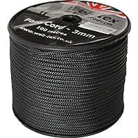 Web-tex - Rollo de cordón Paracord de 3mm - 100 Metros - Negro