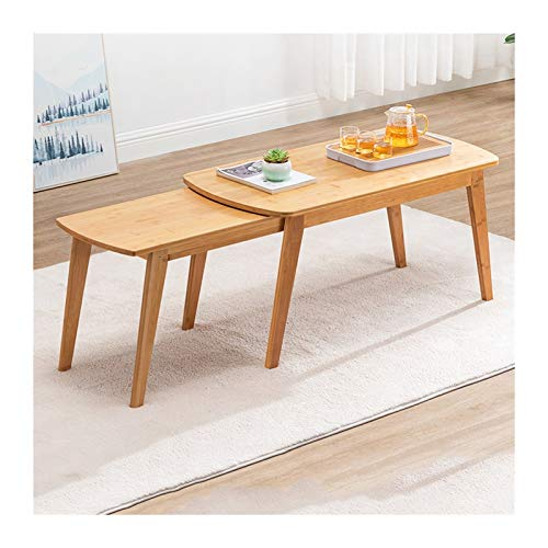 NYKK End Tables Natural Bamboo Tea Table Living Room Home Retractable Coffee Table Side Table, Rectangle, W39.4×D19.7×H19.7 End Table Nightstand Set (Color : Natural)