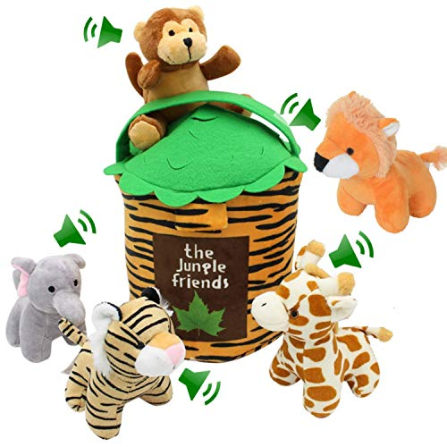 Jungle Friends Talking Plushie Set for 1 Year Old up Boy Girl Baby Realistic Sounding Stuffed Animal Toys Babies Toddlers Children Lion Elephant Tiger Giraffe Monkey Carrier (6 Pc Premium Jungle Set)
