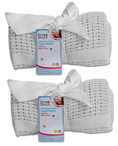Pair of 100% Pure Cotton Cellular Baby Blanket for Pram Cot Bed Moses Basket Crib in Blue Pink or White (2 x White)