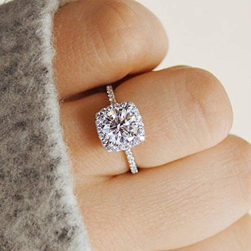 Bicheng 925 Sterling Silver CZ Ring Solitaire Crystal Women's Engagement Rings Cubic Zirconia Promise Rings Anniversary Wedding Bands for Women Girls (7#)