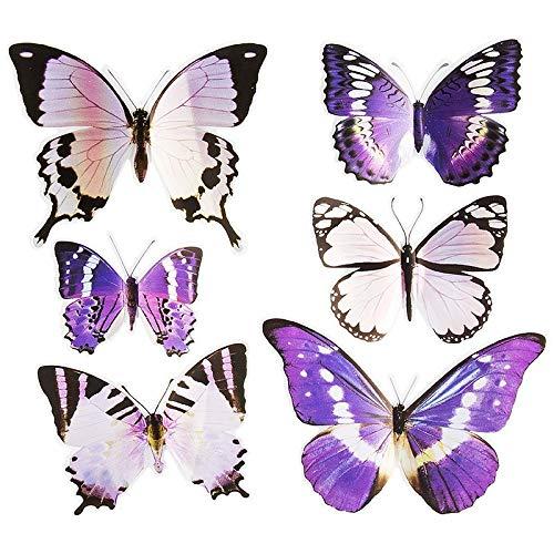 Ideen mit Herz Pop-Up Sticker 3D-Schmetterlinge | 6 Stück auf Bogen | Bogengröße: 19x21cm | Aufkleber, Abziehbilder | ideal für Scrapbooking, Wand-Deko, sonstige Dekorationen (Violetttöne)