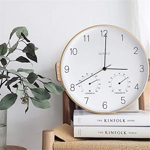 TRSMXYW Wall Clocks for Living Room Modern Creative with Thermometer and Hygrometer Silent Non Ticking Beautiful and Durable Easy to Install Best Gift Beautiful and Durable Best Gift