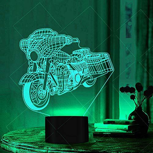 3D Motorrad Nachtlampe 7 Farben ändern Touch LED Schreibtisch Tisch Nachtlicht mit bunten USB Powered für Kinder Kinder Familie Ferienhaus Dekoration Valentinstag Geschenk