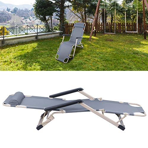 DD&Eren Multifunctional Folding Recliner Beach Chair Lounger Bed For Outdoor Garden Camping,Easy To Store And Transport