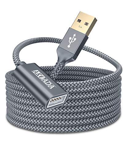 AKOADA Vergoldet 5M lang Super Speed USB 2.0 Aktives Verlängerungs Kabel, USB 2.0 Extender USB A Stecker auf EIN weibliches Kabel, 5M / 16 Fuß für Oculus Rift, Gamepad, CCTV, DVR und mehr(Grau)