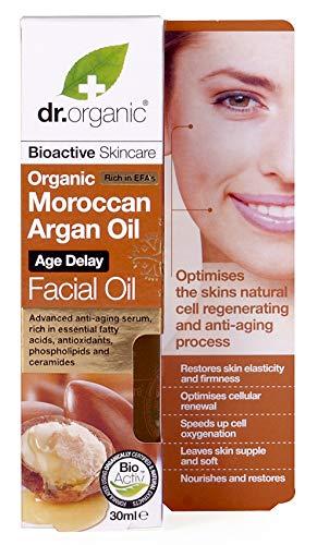 dr.organic argan facial olio siero viso per pelli secche e mature 30 ml