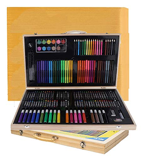 Shuban Professional Deluxe Art Set 180pcs Kids Artist Drawing Exclusive Set with Portable Wooden Case with New Cardboard Package