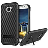 BENTOBEN Galaxy S6 Case, 2 in 1 Shockproof Heavy Duty Rugged Soft TPU Bumper Hard PC Cover Carbon Fiber Texture Protective Samsung S6 Phone Case with Kickstand for Boys,Girls, Men and Women,Black