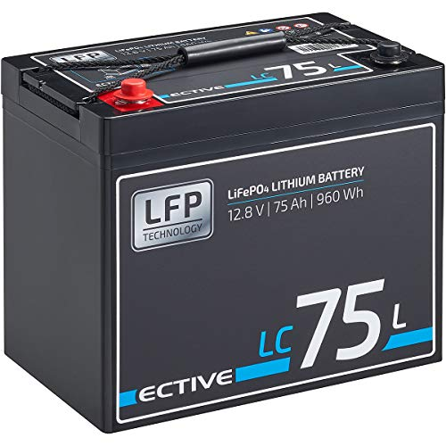 ECTIVE LC75L 12V 75Ah 960Wh LiFePo4 Lithium-Eisenphosphat Versorgungs-Batterie mit BMS