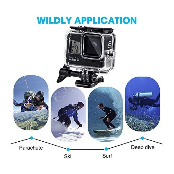 Waterproof Housing Case for GoPro Hero 8, 60M Diving Protective Housing Shell for Gopro Hero 8 Black Action Camera… 6 196FT/60M Gopro 8 Diving Case: Designed with waterproof seal and tightened buckle, REDTRON waterproof housing shell helps to prevent to water leakage effectively. You can use your Gopro Hero 8 to record underwater activities up to 196FT/60M without worrying about the leakage. HD Scratch-proof & Clear Shooting Underwater: The lens of Gopro 8 underwater photography housing is made of ultra-thick transparent tempered glass with with high light transmission which protect your Gopro 8 lens from being scratched and provides you a good shooting results. Upgraded Quick Release Buckle Mount: REDTRON protective housing case for Gopro 8 comes with a quick release buckle mount with 2 type screws. You can attach your Grpro 8 black to accessories such as tripod, bicycle mount, suction cup mount. (Note: accessories are NOT included)