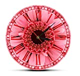Reloj de pared de acrílico redondo Flor de gerbera rosa reloj de pared con números romanos retro margarita de gerbera rosa flor de acuarela decoración de pared de flores reloj de bolsillo con...