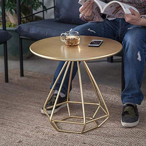 Kays Beistelltisch Couchtisch Sofatisch Wohnzimmertisch Ende Tabellen Teetisch Couchtisch Beistelltisch mit Metallbeinen, Wohnzimmer Cafe Round Metallrahmen, 55 * 55 * 50 cm (Color : Gold)