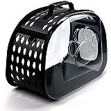 ペット用 航空会社承認 キャリーバッグ ショルダー 猫 小型 犬 犬猫の通院 避難 電車乗りなどのおでか ペット移動 通気性抜群 脱出防止 透明な ペットキャリアバッグ (Black)