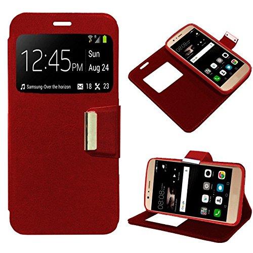 iGlobalmarket Funda Flip Cover Tipo Libro con Tapa para Huawei P9 Lite Liso Rojo