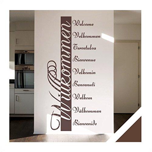 Exklusivpro Wandtattoo Willkommen in 10 Sprachen Flur Diele Eingang mit Swarovski Strass (ban03 braun) 120 x 57 cm mit Farb- u. Größenauswahl