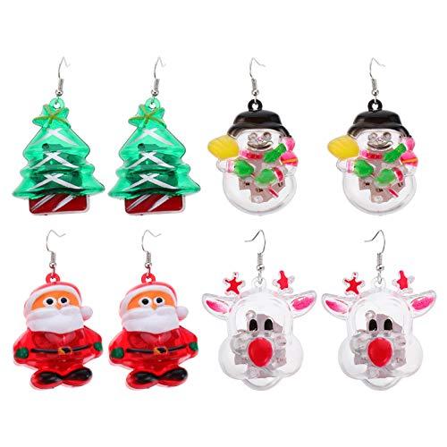 VALICLUD 4 Paare Weihnachten Ohrringe LED Weihnachtsmann Weihnachtsbaum Rentier Schneemann Ohrringe Leuchtende Tropfen-Ohrringe Weihnachtsschmuck für Frauen Mädchen Weihnachtsgeschenk