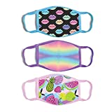 ABG Accessories Girls' 3-Pack Kid Fashionable Protection, Reusable Fabric Face Mask Age 3-7, Fruit Design