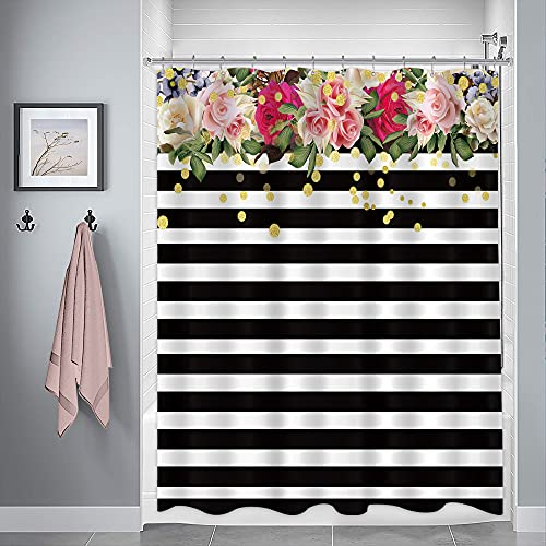 Floral Border Black and White Curtain