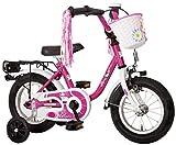 DREAM Kinderfahrrad 12 Zoll Fahrrad für Mädchen ab 3 Jahre Kinder Fahrräder Kinderrad Mädchenfahrrad Pink Weiss Lila mit Rücktrittbremse und Stützrädern