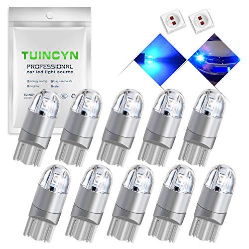 TUINCYN T10 194 168 Lampadina a LED blu 2825 W5W 175 158 Presa 2SMD 3030 Chips Car Interior Light Map Dome Lamp Cortile di cortesia Targa Targa Cruscotto Luce di parcheggio, 12V-24V (10pz)