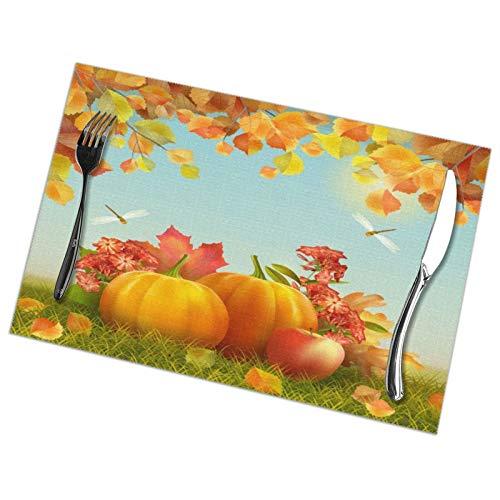 VunKo Juego de 6 manteles individuales de calabazas para el día de Acción de Gracias, lavable, antideslizante, rectangular, 30,5 x 45,7 cm, para cocina, comedor, decoración del hogar, color naranja