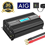 Power Modified Wave Inverter 2000 Watt DC 12V to AC 120V with 3AC Outlets Dual 2.4A USB Ports Remote Control LCD Display for RV Truck Boat by VOLTWORKS