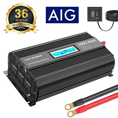 Power Inverter 2000 Watt DC 12V to AC 120V with 3AC Outlets Dual 2.4A USB Ports Remote Control LCD Display for RV Truck Boat by VOLTWORKS