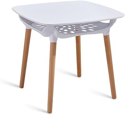 Jia He レジャー家具 シンプルさ交渉テーブル無垢材バルコニーカジュアルラウンドテーブルホームユースダイニングテーブルスクエアテーブル無垢材テーブル脚二層デザイン、2色 ## (Color : White)