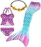 iLyberkiok Coda di Sirena 4 Pezzi Costumi da Bagno per Ragazze Bikini da Nuoto Costume di Bagno per Bambini Regalo di Compleanno 3-12 Anni (No Monopinna) (GB22+Y, 7-8 Anni)