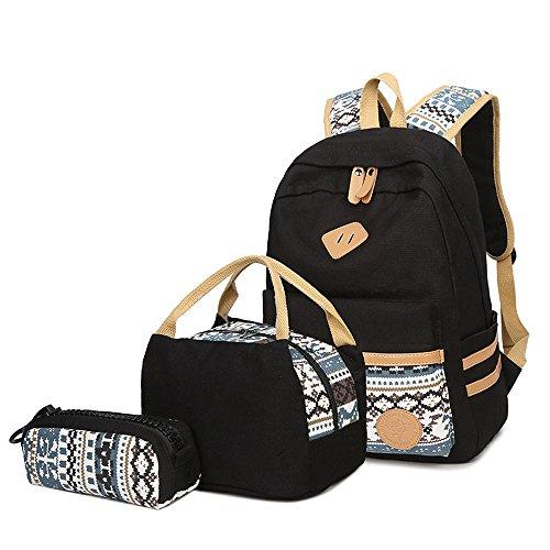 Neuleben Schulrucksack + Kühltasche + Mäppchen Schultaschen 3 Set aus Canvas für Jungen Mädchen in der Schule Freizeit (Schwarz C)