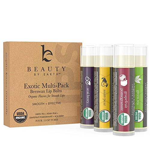 Organic Lip Balm Multi Pack; 4 Tubes of Fruit Flavored Moisturizing Natural Beeswax Chapstick with Aloe Vera, Shea Butter, Coconut Oil; Therapy and Repair Dry Chapped Cracked Lips For Men and Women