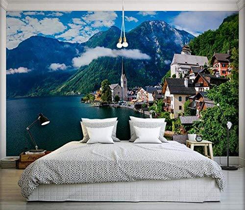 ZJfong 3D fotobehang wandbehang prachtige Oostenrijkse stad landschap slaapkamer woonkamer wand decoratie 330x210cm