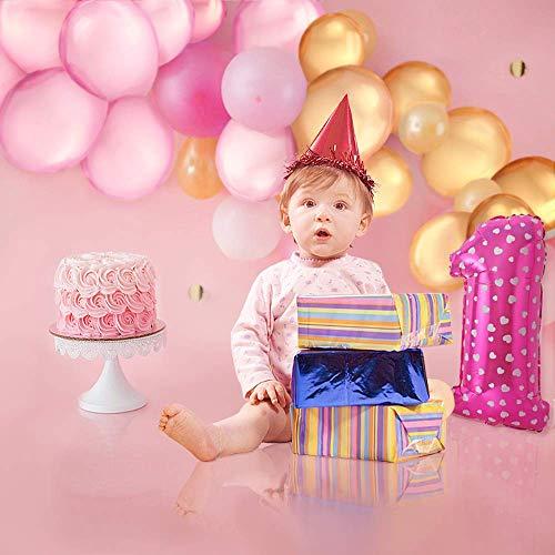 PushingBest 1st Birthday Decoration, decoración de Fiesta de cumpleaños Rosa con una Guirnalda de 80 cm Globos Decorativos Conjunto de decoración Ideal para niños y niñas de 1 año