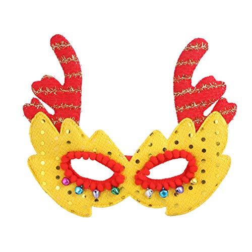 TOYANDONA Marco de anteojos de Reno navideño Lentejuelas máscara de asta de Santa Disfraz Novedad Disfraz con Campana para niños Adultos Regalo Festivo (Amarillo)