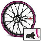 Motoking Felgenrandaufkleber mit Montagetool für Ihr Motorrad in NEON / 6 mm/für 10' bis 25' / Farbe wählbar - Neon Pink