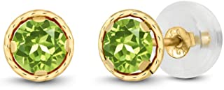 Gem Stone King 14K Yellow Gold Green Peridot Women Stud Earrings 0.60 Ct Gemstone Birthstone Round 4MM