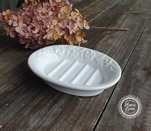 Flair Vitrine Seifenschale Seifenablage Schale -Pansy White- Keramik weiß Bad Nostalgie Landhaus Shabby French