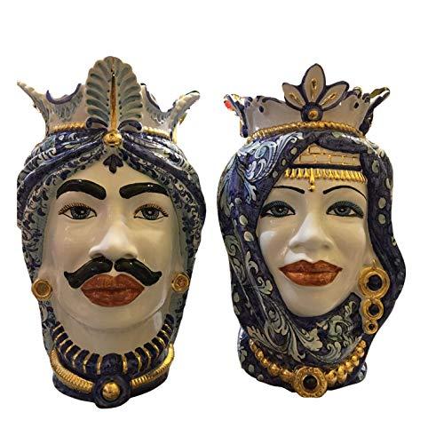 Cerámicas sicilianas, cabezas de moro de cerámica Caltagirone, modelo turbante decorado con...