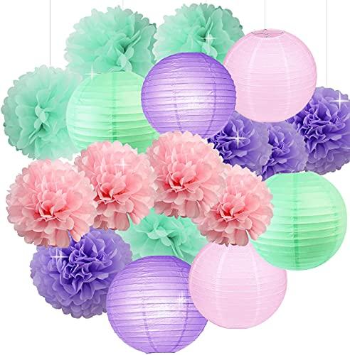 Kubert Blush Pink, Mint Green, Lavender Hanging Paper Lanterns Tissue Pom Poms Decoration Kit for Unicorn, Princess, Pony Birthday Party Decorations, Assorted 8-Inch 10-Inch