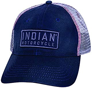 Indian Motorcycle Mesh Snapback Block Patch Hat with Indian Motorcyle Logo, Navy